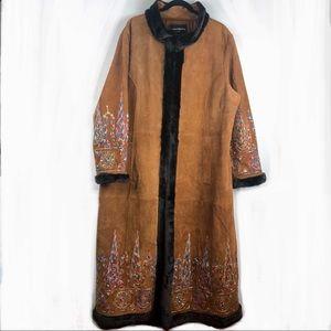 Margaret Godfrey Suede Coat w/ Embroidery, 22W.